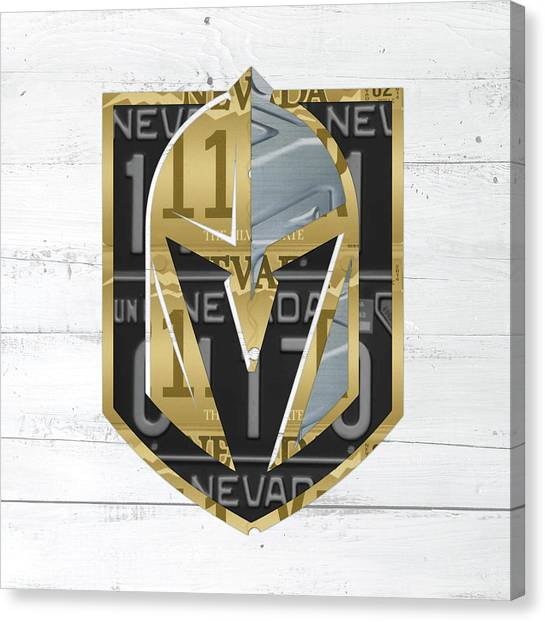Vegas Golden Knights Canvas Print - Las Vegas Golden Knights Hockey License Plate Art by Design Turnpike
