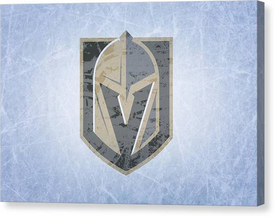 Vegas Golden Knights Canvas Print - Las Vegas Golden Knights Vintage Hockey At Center Ice by Design Turnpike