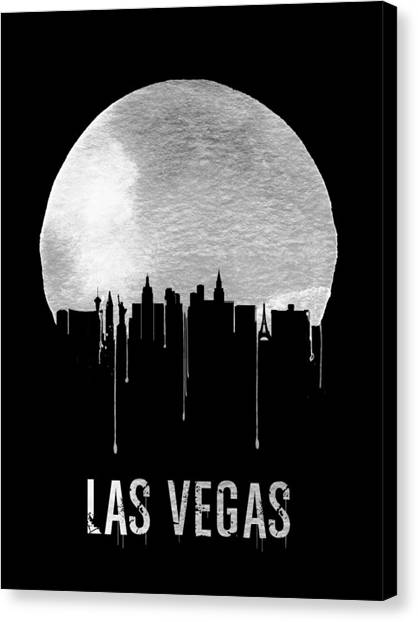 Sin Canvas Print - Las Vegas Skyline Black by Naxart Studio