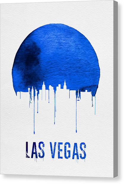 Sin Canvas Print - Las Vegas Skyline Blue by Naxart Studio