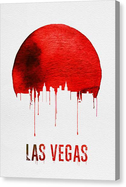 Sin Canvas Print - Las Vegas Skyline Red by Naxart Studio