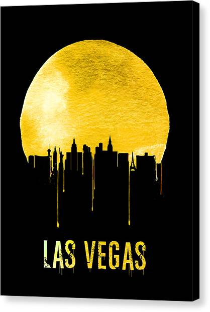Sin Canvas Print - Las Vegas Skyline Yellow by Naxart Studio