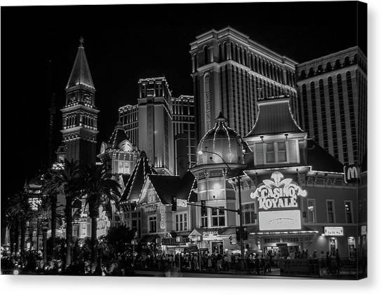Venetian hotel and casino canvas print las vegas strip in black and white by bob