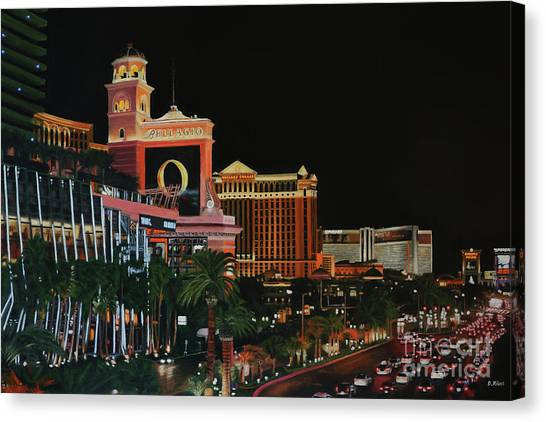 Las Vegas Strip Oil On Canvas Painting Canvas Print
