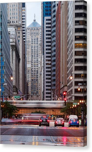 Ben Affleck Canvas Print - Lasalle Street Canyon With Chicago Board Of Trade Building At The South Side II - Chicago Illinois by Silvio Ligutti