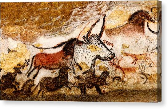 Lascaux Hall Of The Bulls - Horses And Aurochs Canvas Print