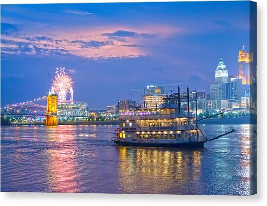 Laser Show Over Paul Brown Stadium  Canvas Print