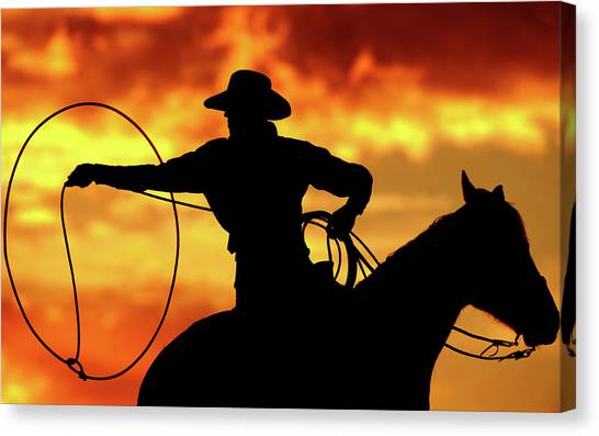 Canvas Print - Lasso Sunset Cowboy by Shawn Hamilton