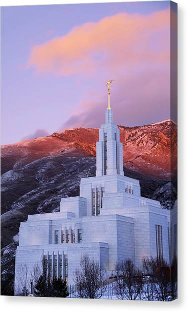Salt Canvas Print - Last Light At Draper Temple by Chad Dutson