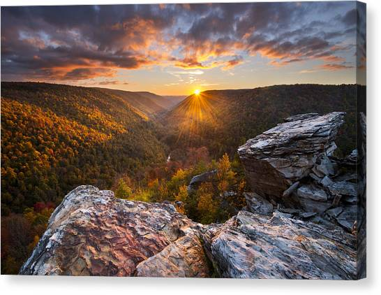 West Virginia Canvas Print - Last Light At Lindy Point by Joseph Rossbach