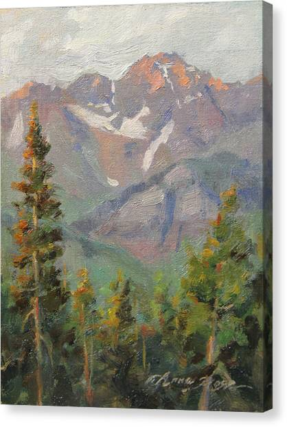 Colorado Canvas Print - Last Light In Mountain Village Plein Air by Anna Rose Bain