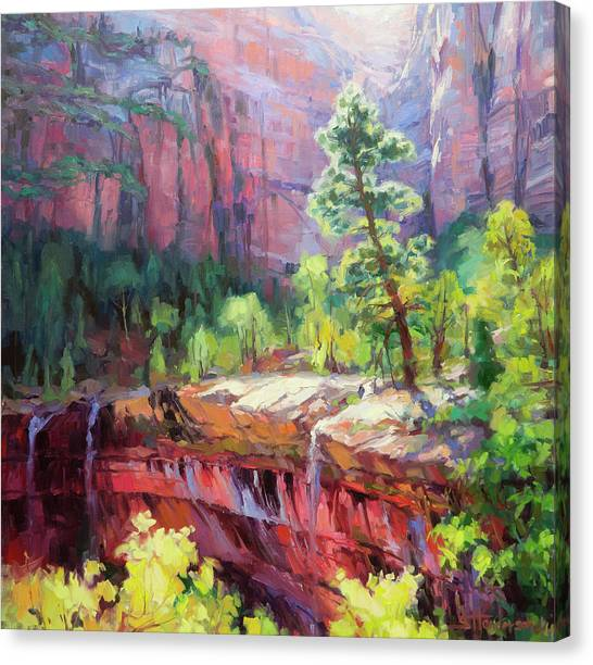 Red Rock Canvas Print - Last Light In Zion by Steve Henderson