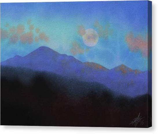 Last Light With Moonrise Over Iron Mountain Canvas Print by Robin Street-Morris
