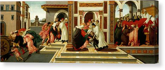 Early Christian Art Canvas Print - Last Miracle And The Death Of St. Zenobius by Sandro Botticelli