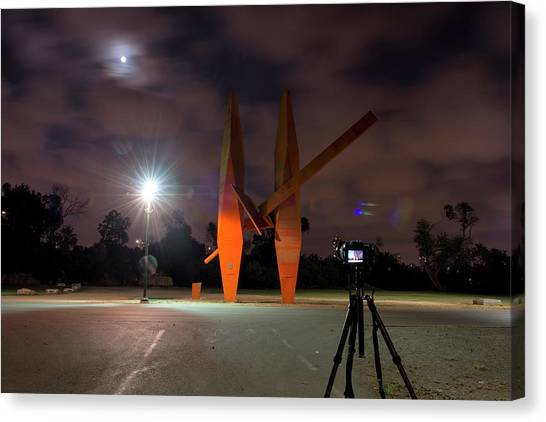 Canvas Print featuring the photograph Last Night In The Park by Dubi Roman