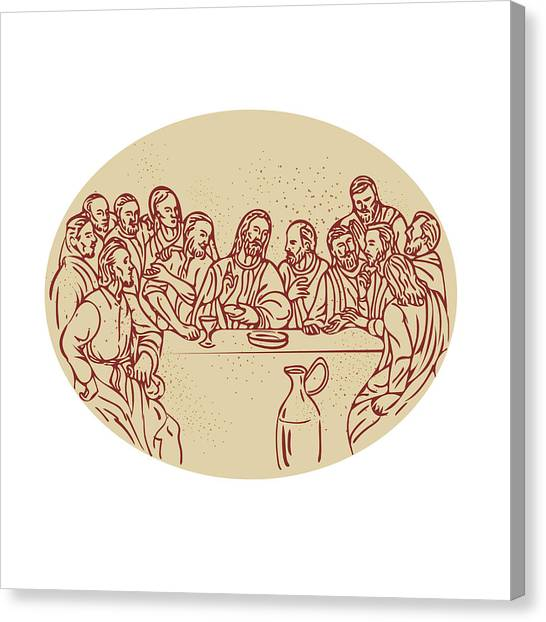 The Christ Ink Drawing Canvas Print - Last Supper Jesus Apostles Drawing by Aloysius Patrimonio