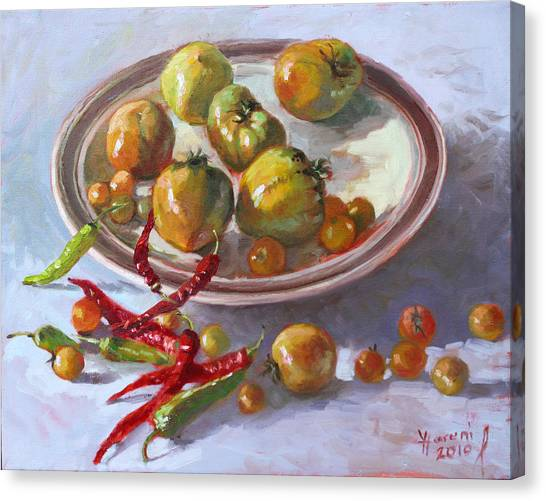 Tomato Canvas Print - Last Tomatoes From My Garden by Ylli Haruni