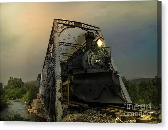 Train Conductor Canvas Print - Last Train Into Chama by Robert Frederick