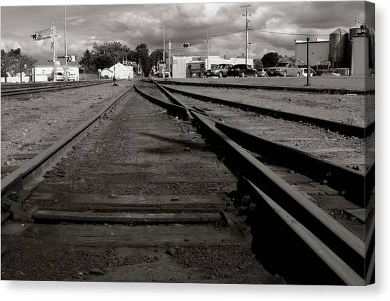 Canvas Print featuring the photograph Last Train Track Out by Lorraine Devon Wilke
