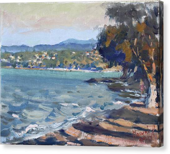 Late Canvas Print - Late Afternoon At Dilesi Beach Athens by Ylli Haruni