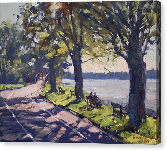 Late Canvas Print - Late Afternoon At Niawanda Park by Ylli Haruni