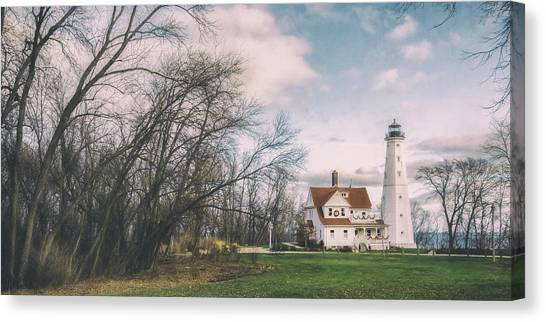 Lake Michigan Canvas Print - Late Afternoon At The Lighthouse by Scott Norris