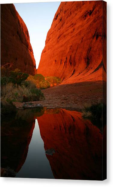 Late Afternoon Light And Reflections At Kata Tjuta In The Northern Territory Canvas Print