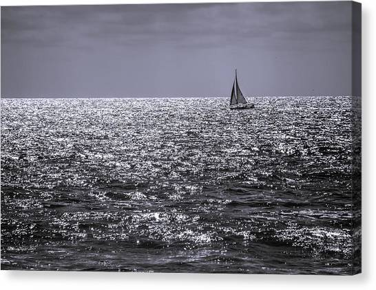 Sailboat Off The Coast At San Diego Canvas Print