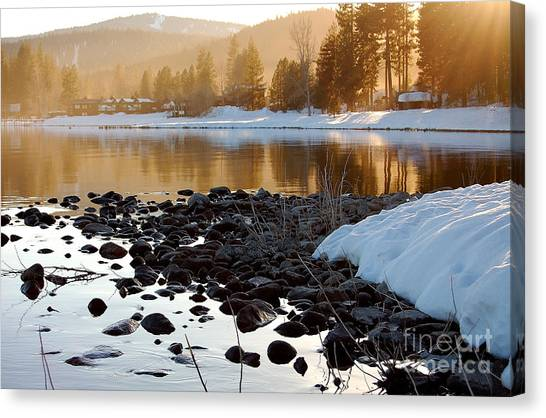Late Aternoon  Lake Tahoe Canvas Print by Heather S Huston