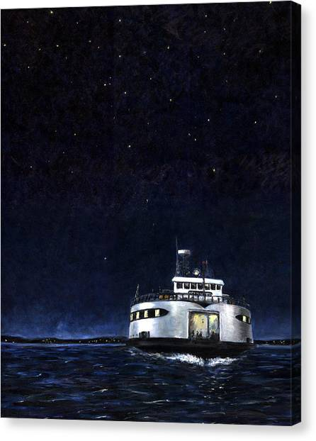 Marthas Vineyard Canvas Print - Late Boat by Paul Gardner