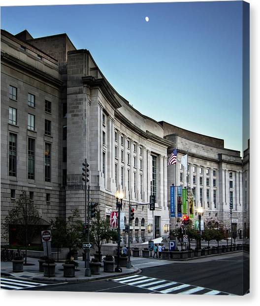 Ronald Reagan Canvas Print - Late Evening At The Ronald Reagan Building by Greg Mimbs