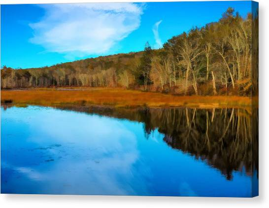 Late Fall At A Connecticut Marsh. Canvas Print