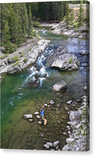 Trout Canvas Print - Late Season Fishing On The Gros Ventre by Drew Rush