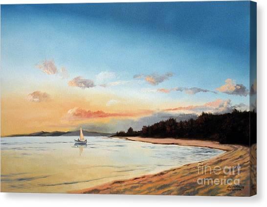 Late Sunset Along The Beach Canvas Print