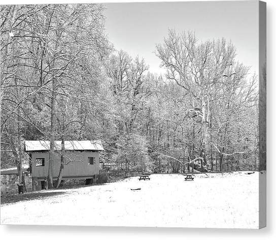 Canvas Print featuring the photograph Late Winter Snowfall In Western Pennsylvania by Digital Photographic Arts
