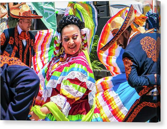 Canvas Print featuring the photograph Latino Street Festival Dancers by Robert Bellomy