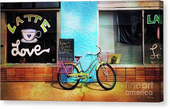 Latte Love Bicycle Canvas Print
