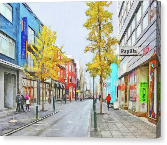 Canvas Print featuring the digital art Laugavegur Street In Downtown Reykjavik by Digital Photographic Arts