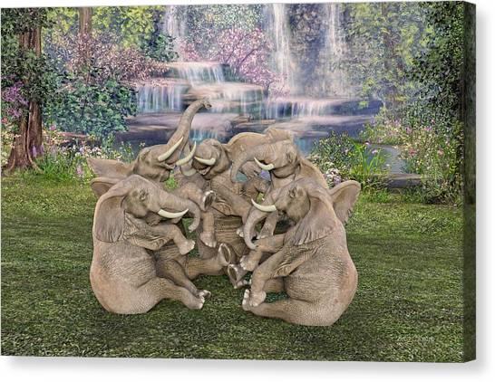 Happy Elephant Canvas Print - Laugh A Little  by Betsy Knapp