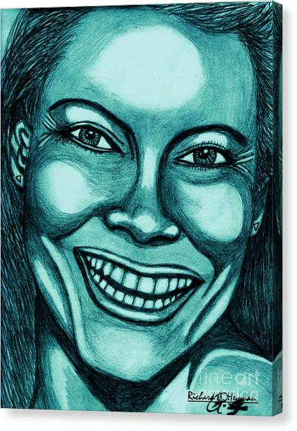 Laughing Girl In Blue 2 Canvas Print by Richard Heyman