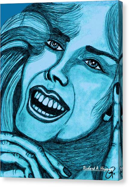 Laughing Girl In Blue Canvas Print by Richard Heyman