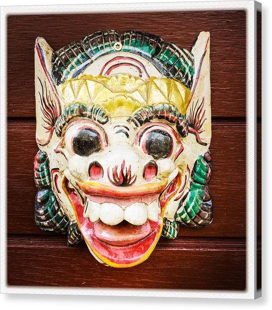 Face Canvas Print - Laughing Mask by Matthias Hauser