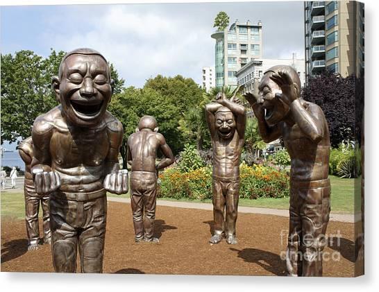 Laughing Men Sculptures Vancouver Canada Canvas Print