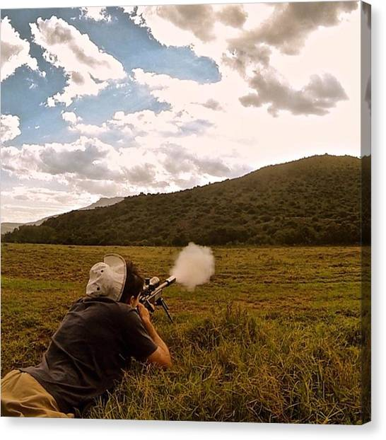 Rifles Canvas Print - Launching Some Lead Into The Hills by Morgan Westcott