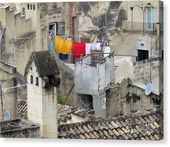 Laundry Day In Matera.italy Canvas Print