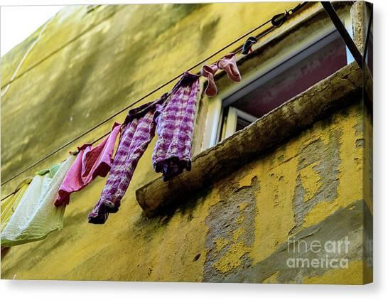 Laundry Hanging In Rovinj, Croatia Canvas Print