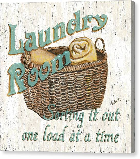 Laundry Canvas Print - Laundry Room Sorting It Out by Debbie DeWitt
