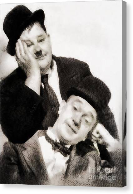 Stardom Canvas Print - Laurel And Hardy, Vintage Comedians by John Springfield