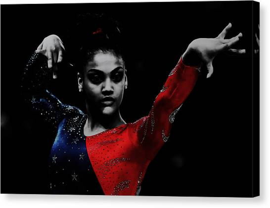 Balance Beam Canvas Print - Laurie Hernandez by Brian Reaves