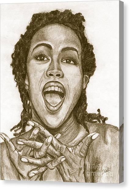 Hip Hop Canvas Print - Lauryn Hill by Debbie DeWitt